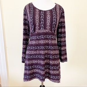 Patterned Fit & Flare Tunic Top XL
